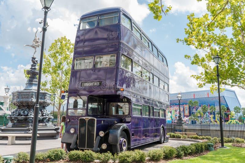 Universal Studios harry Potter Knight Bus. ORLANDO, USA - SEPTEMBER 02, 2015: Knight Bus.The Wizarding World of Harry Potter - Diagon Alley of Universal Studios stock image