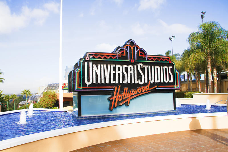 The Universal Studios Hollywood sign. UNIVERSAL CITY, CA - OCT 29, 2015: The Universal Studios Hollywood sign greeting visitors outside the amusement park. It`s royalty free stock photo
