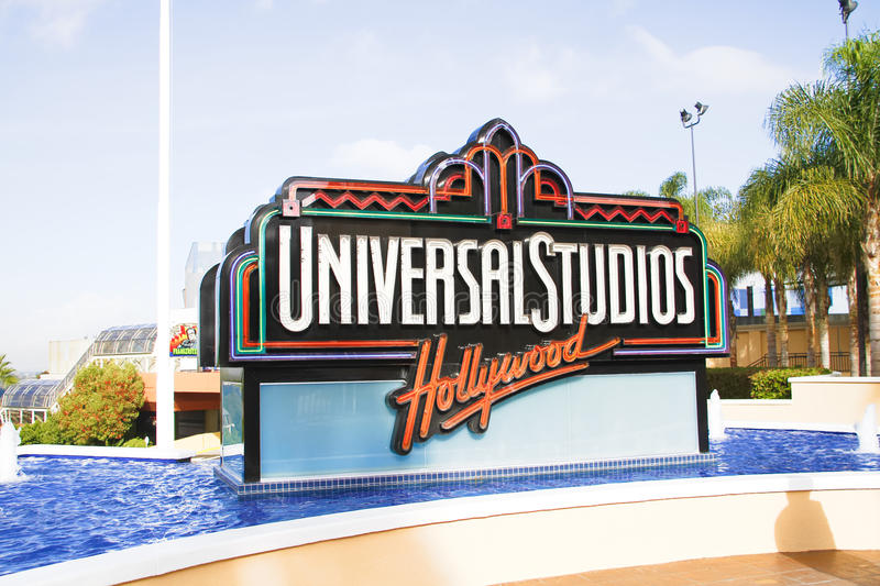 The Universal Studios Hollywood sign. UNIVERSAL CITY, CA - OCT 29, 2015: The Universal Studios Hollywood sign greeting visitors outside the amusement park. It`s stock images