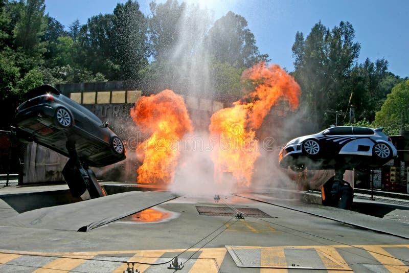 Universal Studios-Tram-Ausflug-Bremsungs-Autos stockfotografie