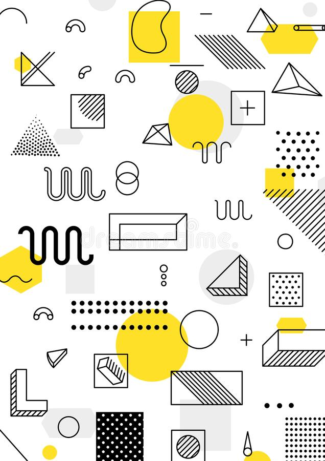 Colorful trend geometric pattern. Universal trend poster with bright bold geometric yellow elements, chaotic composition, restrained sustained tempered style vector illustration