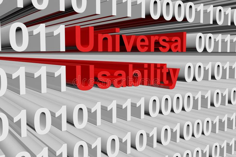 Universal usability. In the form of binary code, 3D illustration royalty free illustration