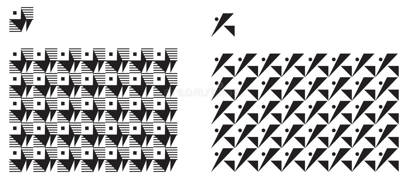 Universal various geometric seamless pattern stock illustration