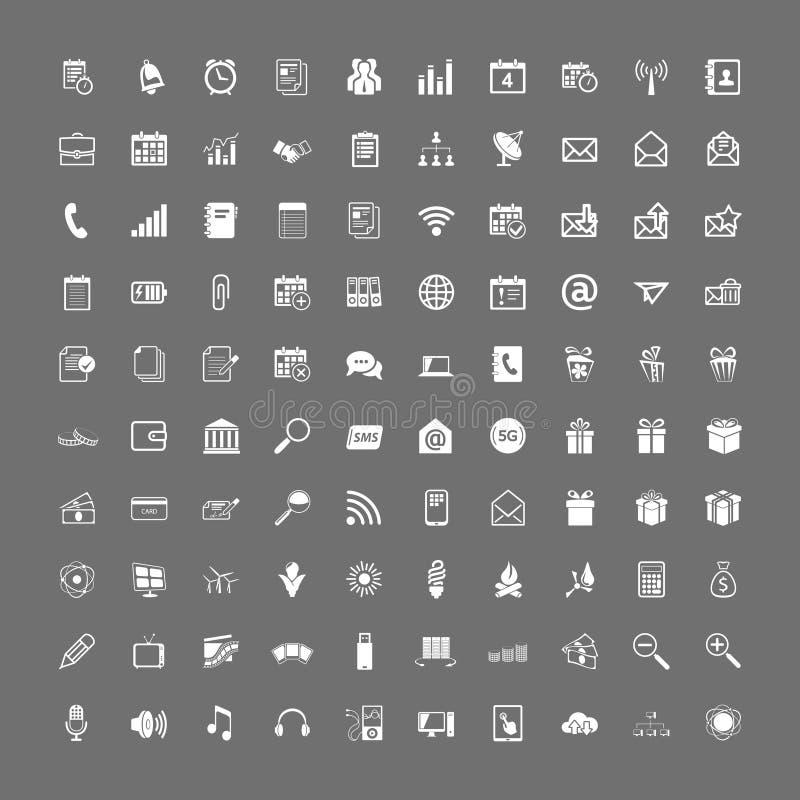 100 universal web icons set. Vector white on gray