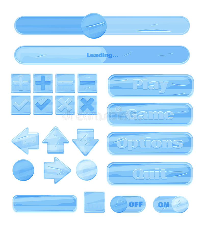 Universal winter ice UI Kit for designing responsive gaming applications and mobile online games, websites, mobile apps and user i royalty free illustration