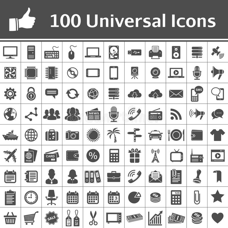 Universalikonen-Set. 100 Ikonen lizenzfreie abbildung