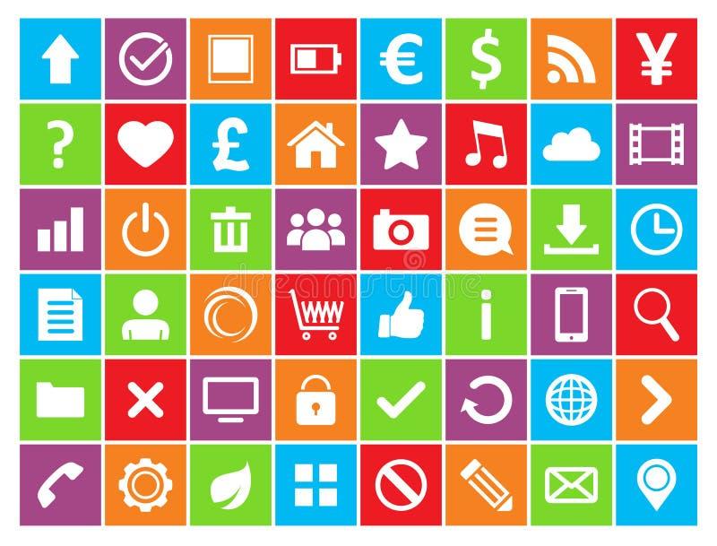 Farbige Ikonen für Netz und Mobile stock abbildung