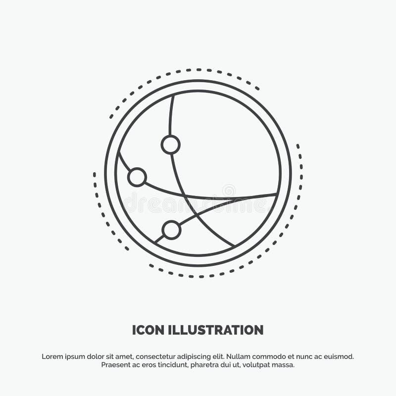 universalmente, comunicazione, collegamento, Internet, icona della rete Linea simbolo grigio di vettore per UI e UX, sito Web o a illustrazione di stock