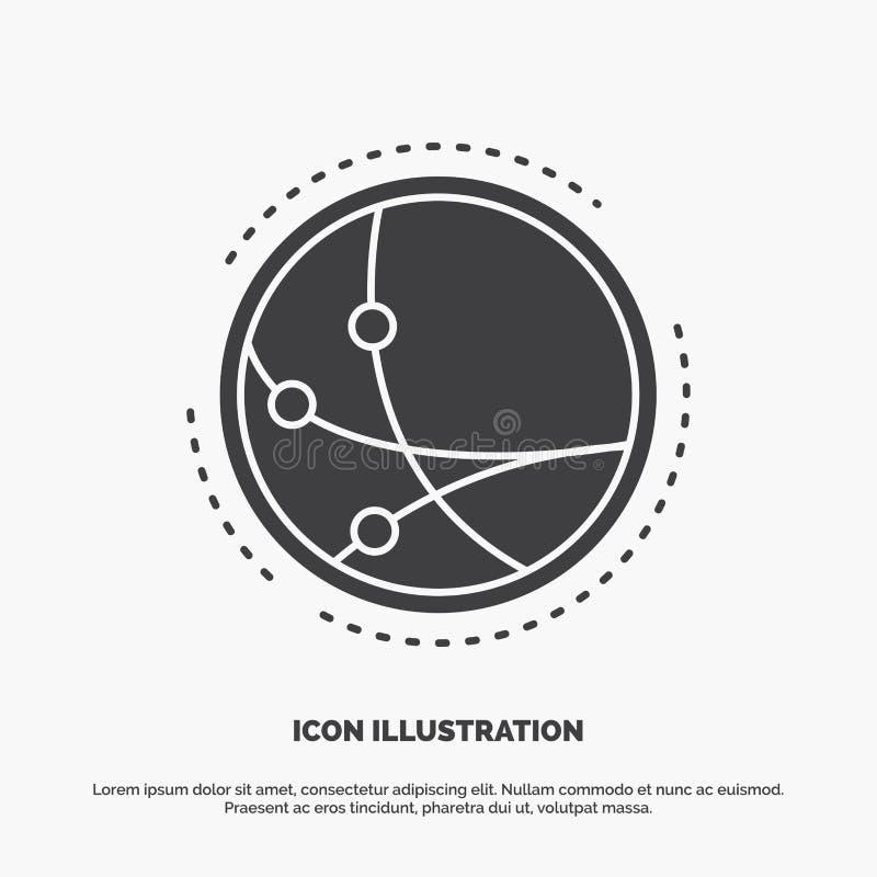 universalmente, comunicazione, collegamento, Internet, icona della rete simbolo grigio di vettore di glifo per UI e UX, sito Web  illustrazione di stock