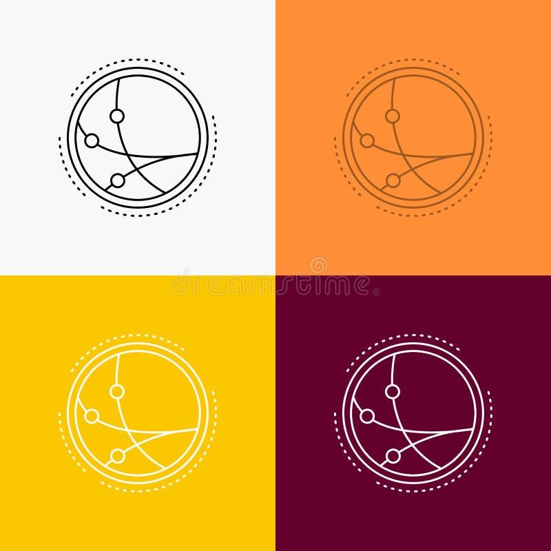 universalmente, comunicazione, collegamento, Internet, icona della rete sopra vario fondo Linea progettazione di stile, progettat royalty illustrazione gratis