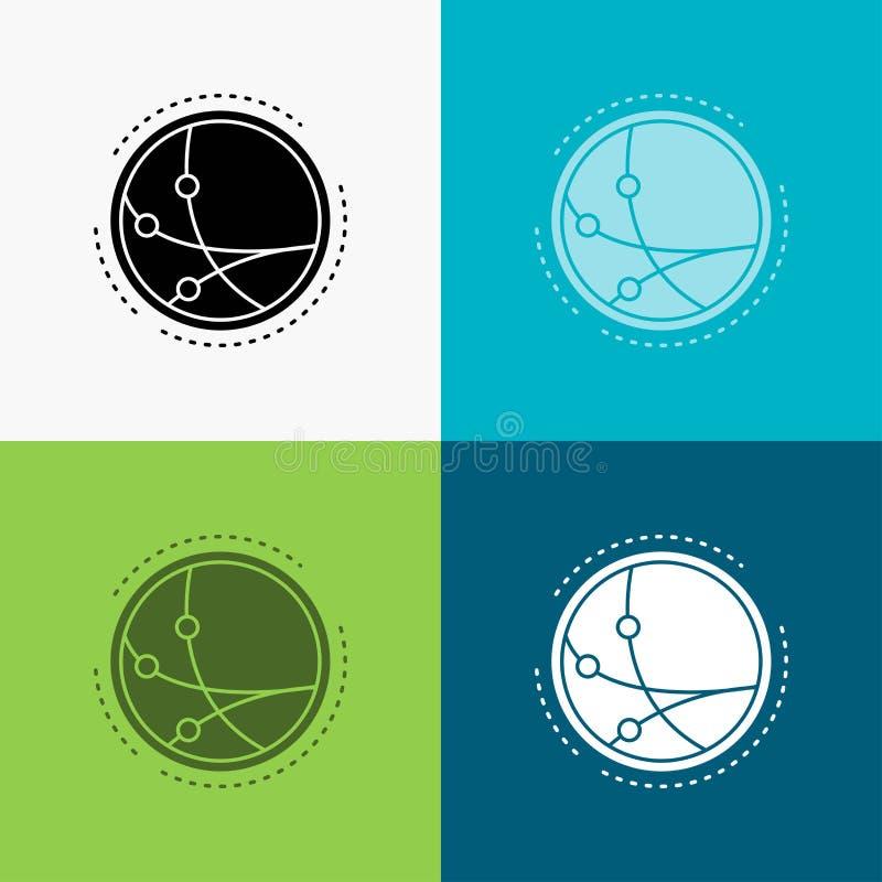 universalmente, comunicazione, collegamento, Internet, icona della rete sopra vario fondo progettazione di stile di glifo, proget royalty illustrazione gratis