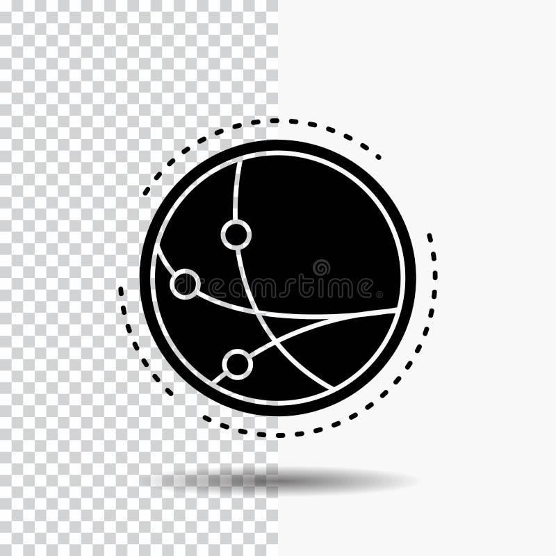 universalmente, comunicazione, collegamento, Internet, icona di glifo della rete su fondo trasparente Icona nera illustrazione di stock