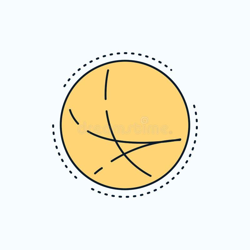 universalmente, comunicazione, collegamento, Internet, icona piana della rete segno e simboli verdi e gialli per il sito Web ed i illustrazione vettoriale
