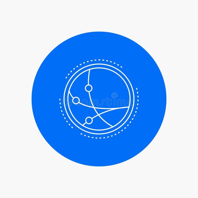 universalmente, comunicazione, collegamento, Internet, linea bianca icona della rete nel fondo del cerchio Illustrazione dell'ico illustrazione vettoriale