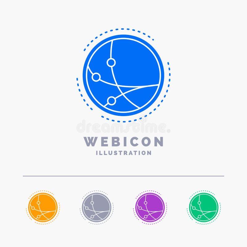 universalmente, comunicazione, collegamento, Internet, modello dell'icona di web di glifo di colore della rete 5 isolato su bianc illustrazione di stock