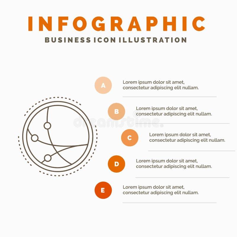 universalmente, comunicazione, collegamento, Internet, modello di Infographics della rete per il sito Web e presentazione Linea i illustrazione di stock