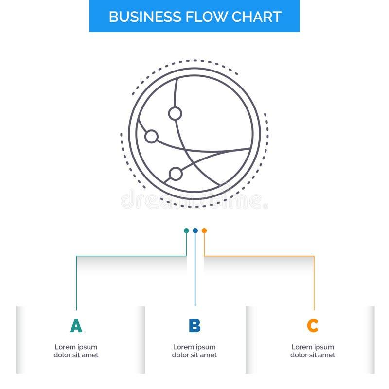 universalmente, comunicazione, collegamento, Internet, progettazione del diagramma di flusso di affari della rete con 3 punti r royalty illustrazione gratis