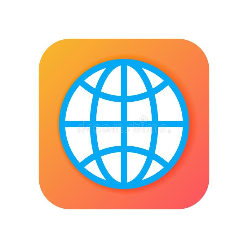 Universalmente, globo, icone del browser Icona moderna nello stile piano sul fondo di pendenza Icona di vettore per qualsiasi sco illustrazione vettoriale