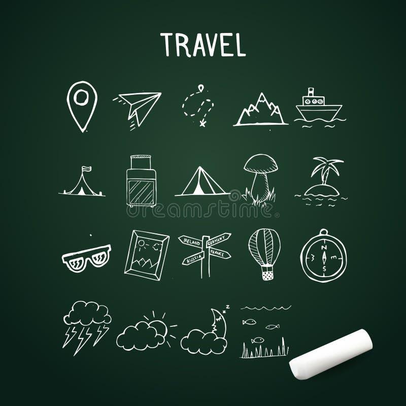 Universalsatz Vektor-Gekritzel-Ikonen, Reisegekritzel wendet auf Tafel ein lizenzfreie abbildung