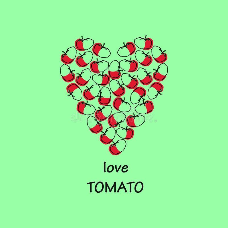 Universalschablone für Grußkarte, Webseite, Hintergrund Autumn Vegetables Tomatenskizze Herz gelegt stockbild