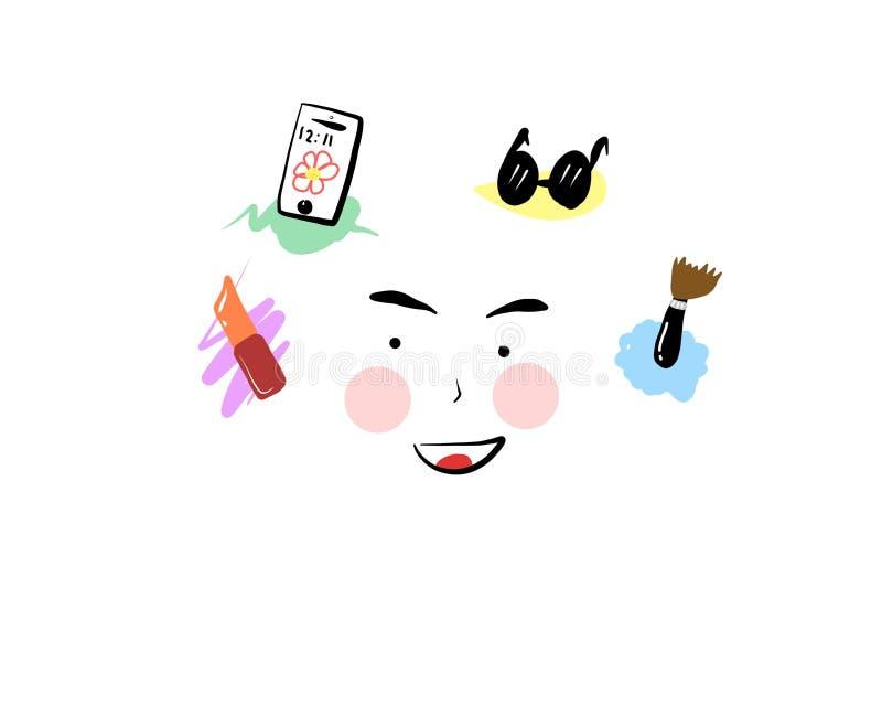 Universalschablone für Grußkarte, Webseite, Hintergrund Kosmetik und Modehintergrund mit bilden Gegenstandillustration stockfotografie