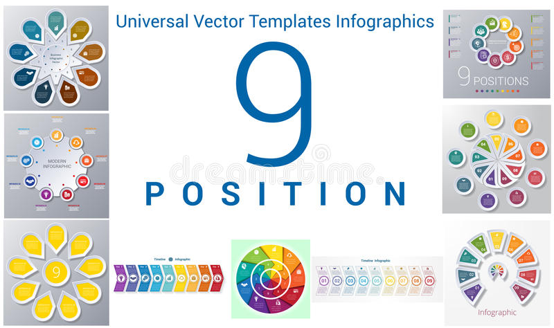 Universalschablonen stellten infographics 9 Positionen ein vektor abbildung