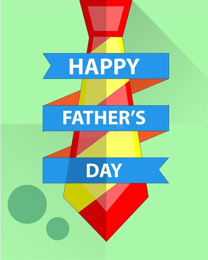 Universalvater ` s Tageskarte und rotes Krawattenkonzept umgeben durch blaues Band stock abbildung