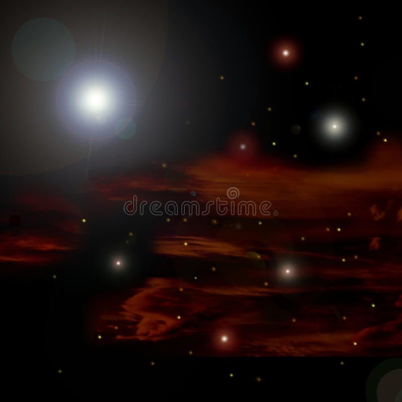 Universe. Illustration of universe with stars and galaxies stock illustration