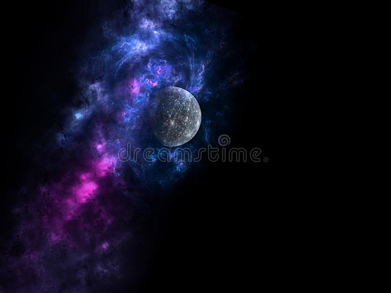 Planets and galaxy, science fiction wallpaper. Beauty of deep space. Billions of galaxy in the universe Cosmic art background, Ver. Universe all existing matter royalty free illustration