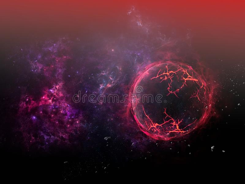 Planets and galaxy, science fiction wallpaper. Beauty of deep space. Universe all existing matter and space considered as a whole the cosmos.  scene with vector illustration