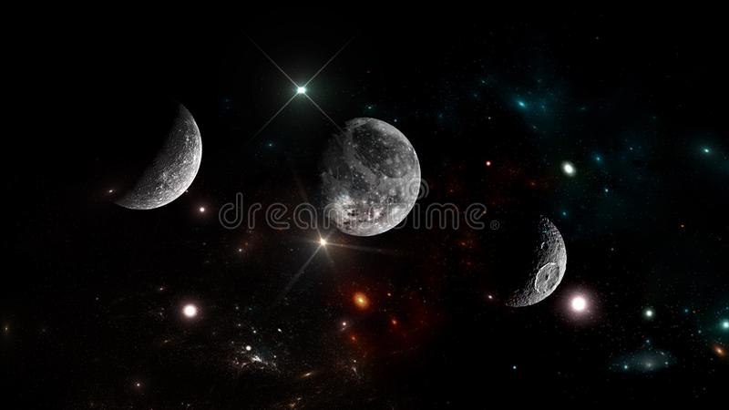 Universe all existing matter and space considered as a whole the cosmos. stock illustration