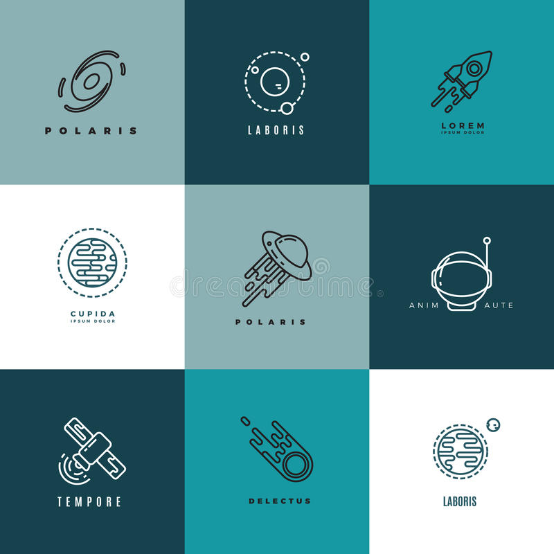 Universe astronomy thin line vector icons and logos set vector illustration