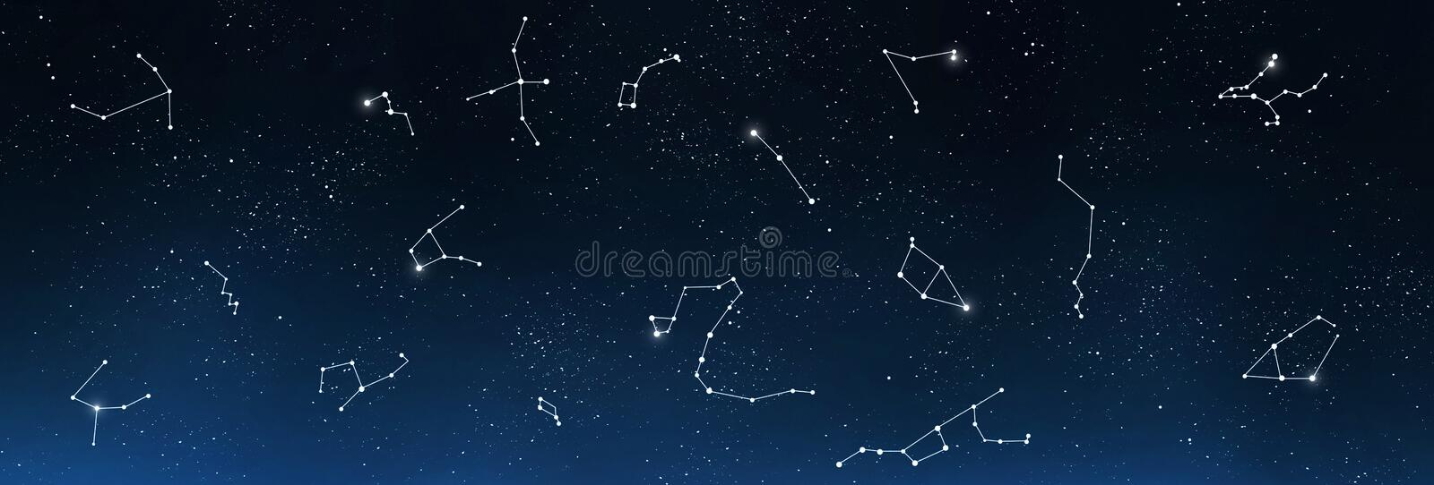Universe background with set of famous constellations. Astrology and horoscope. Universe background with set of famous constellations, panorama royalty free stock image