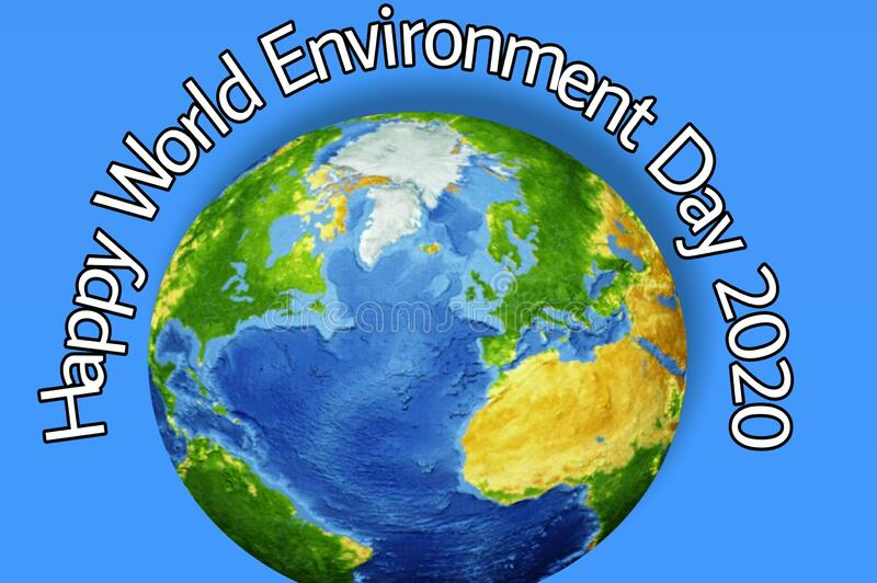Universe with bold text art designed about environment day 2020 royalty free stock images