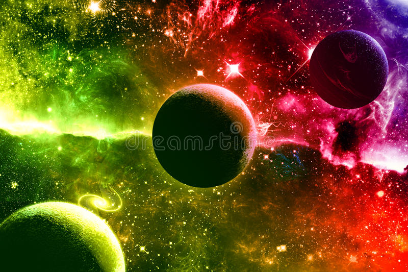 Universe galaxy nebula stars and planets stock illustration