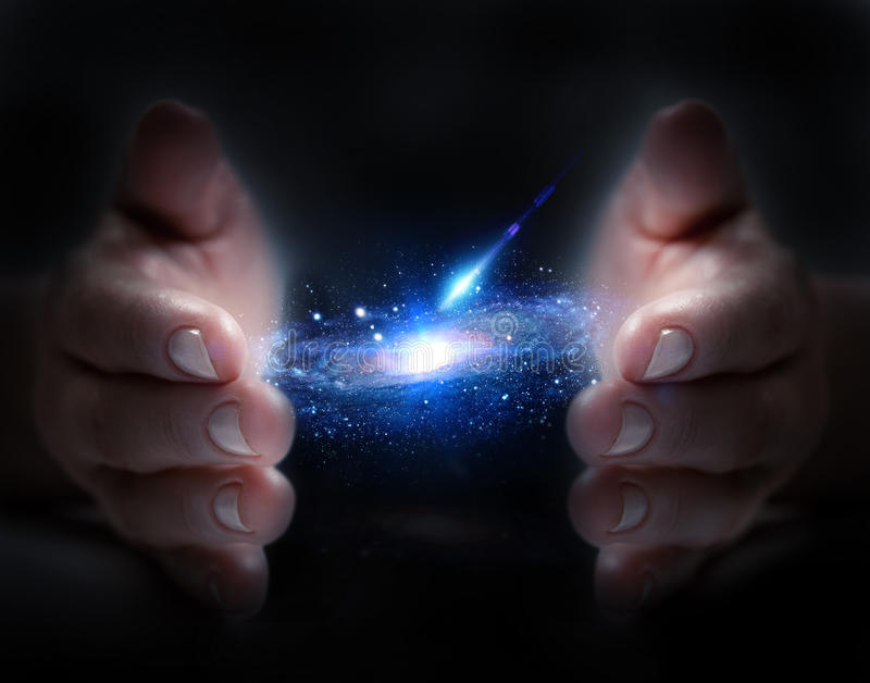 Universe in hand. Means discover unknown vector illustration