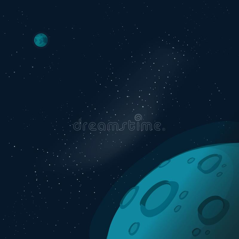 Universe or outer space with copy space for text vector illustration, flat cartoon moon or mars planet surface banner or. Flyer in galaxy atmosphere vector illustration