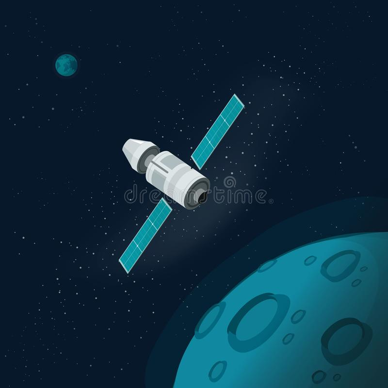 Universe or outer space with planets and spaceship vector illustration, flat cartoon flying satellite orbit station near vector illustration