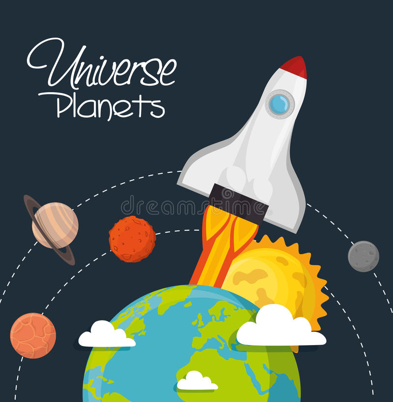 Universe planets space concept stock illustration