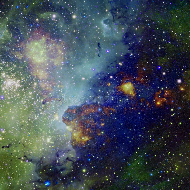 Universe scene with planets, stars and galaxies in outer space stock illustration
