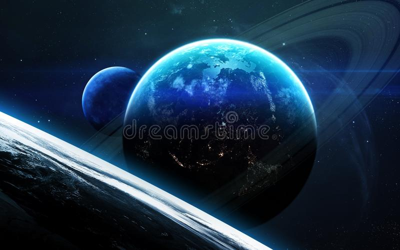 Universe scene with planets, stars and galaxies in outer space showing the beauty of space exploration. Elements furnished by NASA. Universe scene with planets royalty free illustration
