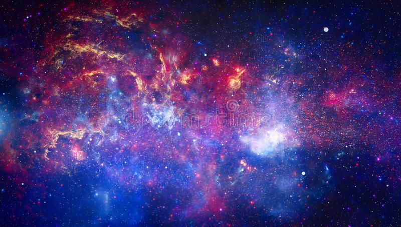 Universe scene with planets, stars and galaxies in outer space showing the beauty of space exploration. Elements furnished by NASA. Nebula and galaxies in space royalty free illustration