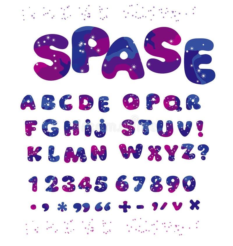 Universe space color alphabet typeface. kid font element set. ch royalty free illustration