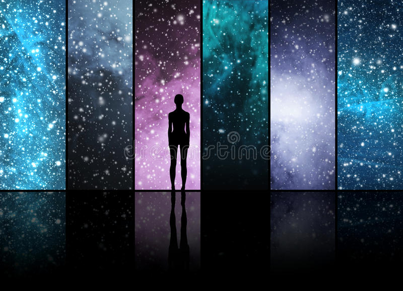 Universe, stars, constellations, planets and an alien shape royalty free illustration