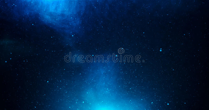 Universe with stars and deep blue dark stock photography