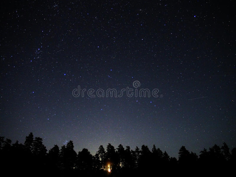 Universe stars M45 star cluster Perseus constellation moon rise. Night sky stars: perseus constellation, M45 star cluster and moon rise royalty free stock photos