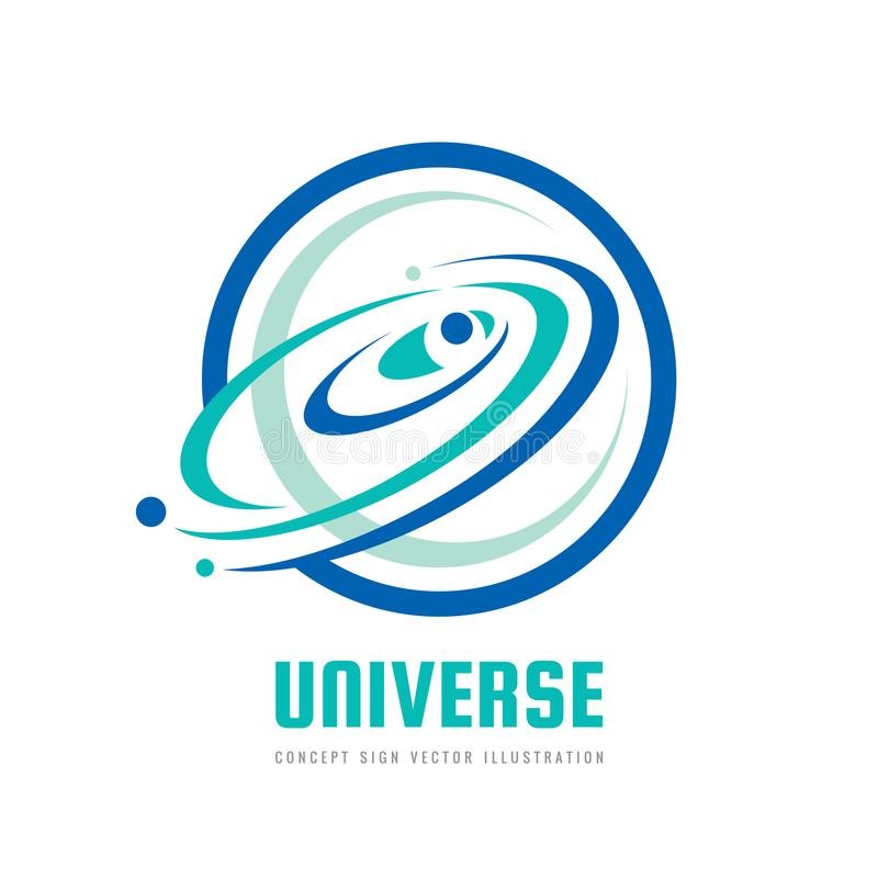 Universe - vector logo concept. Abstract space illustration. Solar system sign. Galaxy and planets symbol. Design element. vector illustration