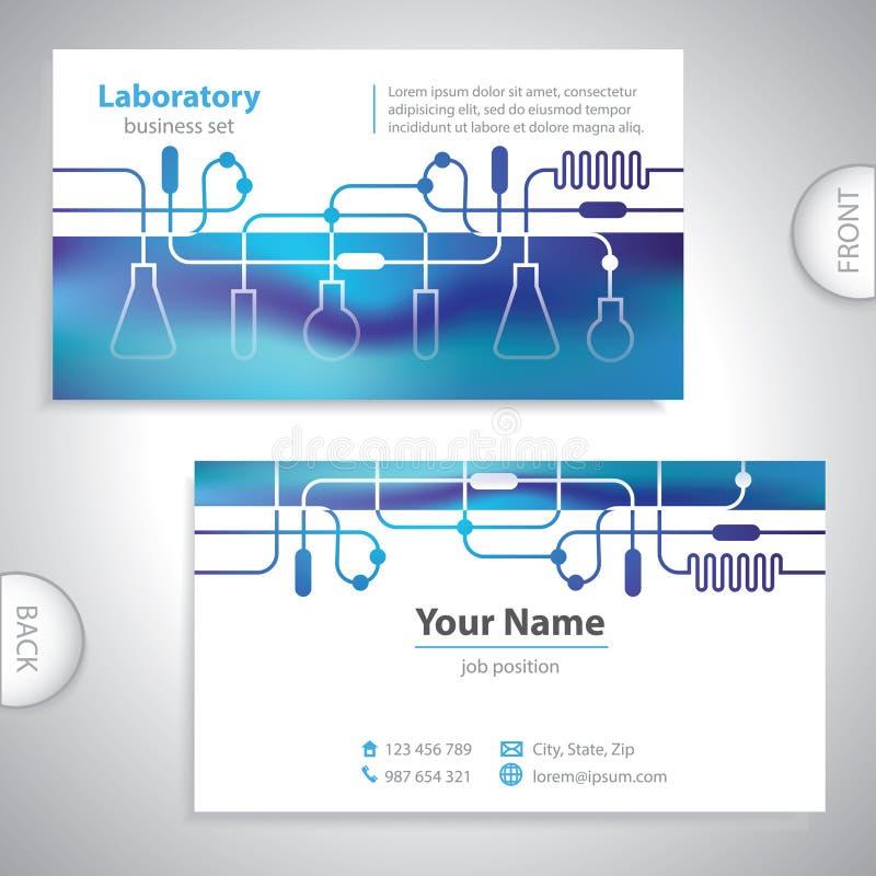 Universeel blauwachtig laboratoriumadreskaartje stock illustratie