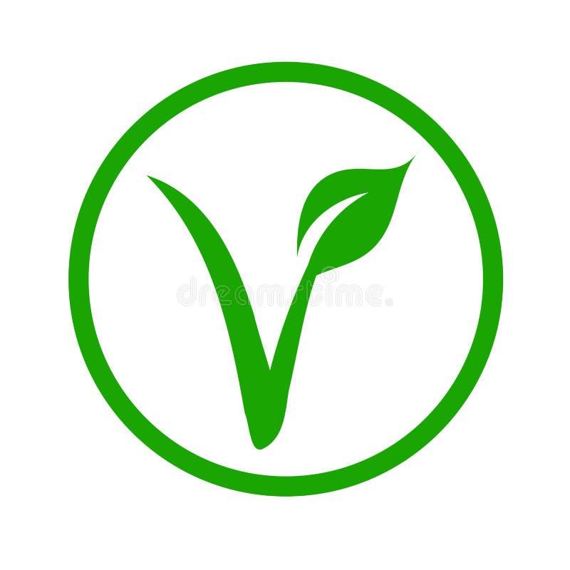 Universeel vegetarisch symbool v-Etiket V met een blad royalty-vrije illustratie