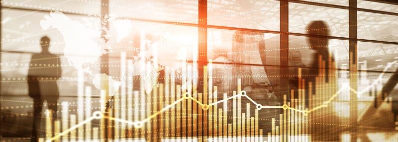 Universele abstracte achtergrond Silhouetten van bedrijfsmensen De grafiek van de de economische groeigrafiek Dubbele blootstelli stock illustratie